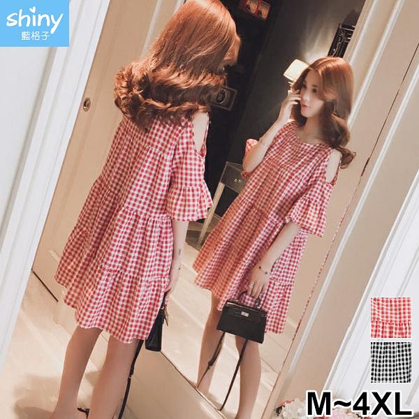 【V3135】shiny藍格子-甜美點綴.寬鬆顯瘦格子露肩短袖連身裙