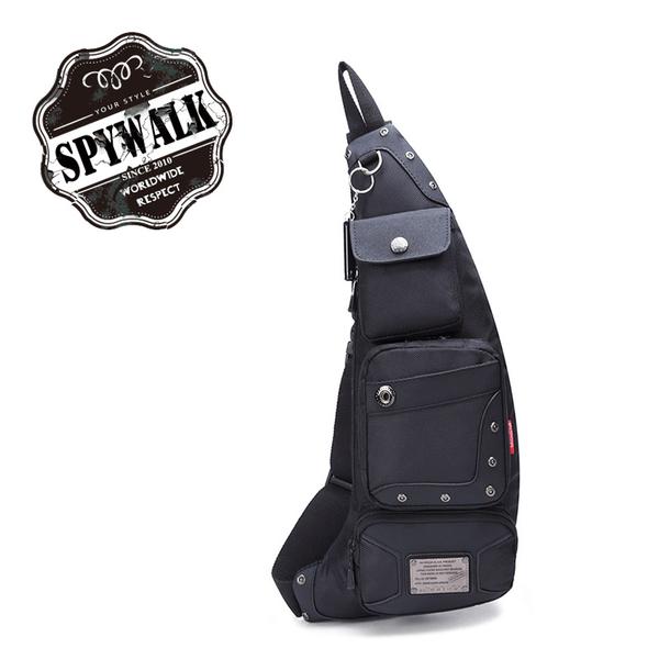 斜背包 ZOLO金屬鉚釘風多隔层尼龍布兩用胸包單車包單肩包贈口哨 NO:7602-1