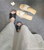 拖鞋 新款懶人拖鞋女夏時尚外穿平底跟外出涼拖鞋沙灘鞋  艾美時尚衣櫥