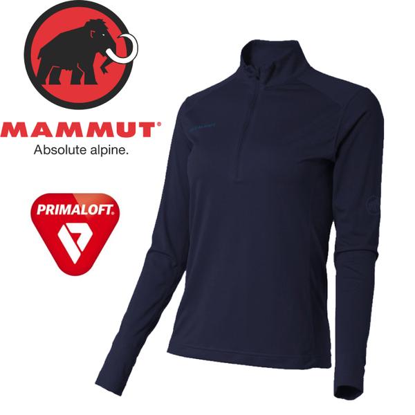 【MAMMUT Performance Dry Zip Longsleeve女《海洋藍》】1016-00210-5118/長毛象/Primaloft/長袖半開襟★滿額送