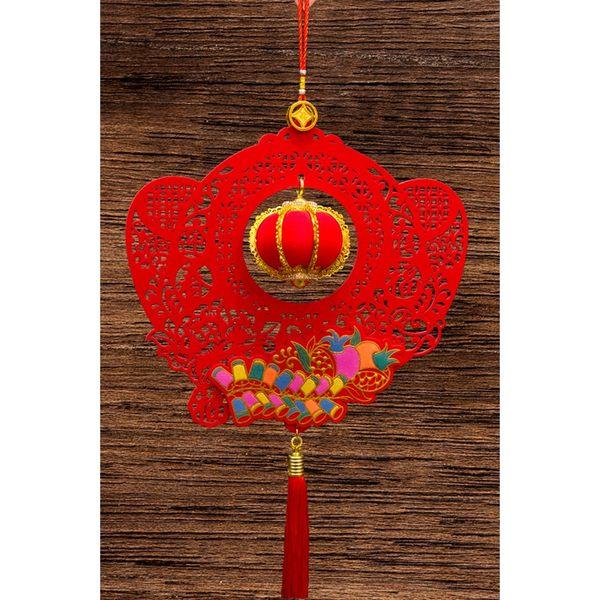 紅絨元寶造型+立體小燈籠吊掛飾 家居風水辦公室裝飾  勝億開運招財飾品批發零售