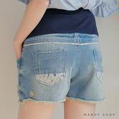 【MN0054】腰可調小碎花布拼接刷破抓鬚牛仔短褲