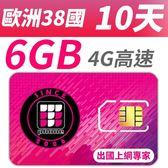 【TPHONE上網專家】歐洲移動38國 10天 超大流量6GB高速上網 插卡即用 不須開通