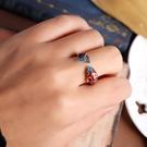戒指 2021新款 旺夫開運逢考必過中國風琺瑯開口銀戒指男女景泰藍簡約古風食指環