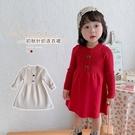長袖洋裝 女童純色保暖針織連衣裙