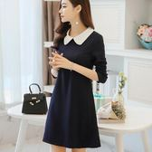 洋裝 新款韓版女裝時尚修身顯瘦娃娃領長袖連身裙打底裙 米蘭街頭