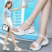 涼鞋女夏季新款真皮厚底楔形厚底中跟一字帶平底百搭仙女風晚晚鞋 「米蘭街頭」
