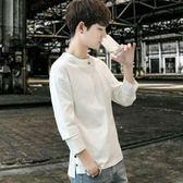 夏季個性棉麻修身七分袖T恤男不規則中袖上衣發型師短袖小衫潮流