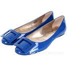 Roger Vivier Gommette 藍色漆皮方框設計平底娃娃鞋 1310378-E1