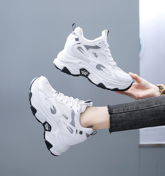 老爹鞋女鞋ins潮8cm增高春款2021年新款春秋顯腳小內增高小白鞋子 伊蘿