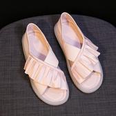 魚口鞋涼鞋女仙女風夏季軟底時尚百搭平底孕婦女鞋魚嘴鞋潮新年禮物 韓國時尚週