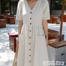 襯衫洋裝2021春夏新款女韓國寬松冷淡短...
