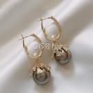 耳環 高級感氣質時尚耳環女法式網紅珍珠耳飾新款精致耳扣網紅
