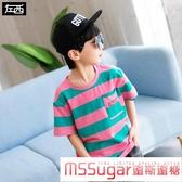 男童t恤短袖夏裝2020新款兒童半袖上衣條紋男孩中大童韓版潮