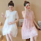 孕婦洋裝 孕婦春裝裙子時尚款套裝夏天蕾絲上衣夏裝潮媽孕婦連身裙-Ballet朵朵