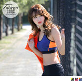 OrangeBear《KS0046》台灣品質.世界同布~花紗拼接挖背半截運動背心.3色--適 S~3L