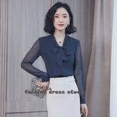 依多多 秋季新款韓版立領蝴蝶結雪紡衫
