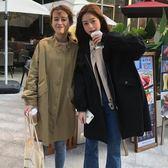 春裝女裝韓版中長款純色工裝夾克BF風寬松學生風衣開衫上衣外套潮 後街五號