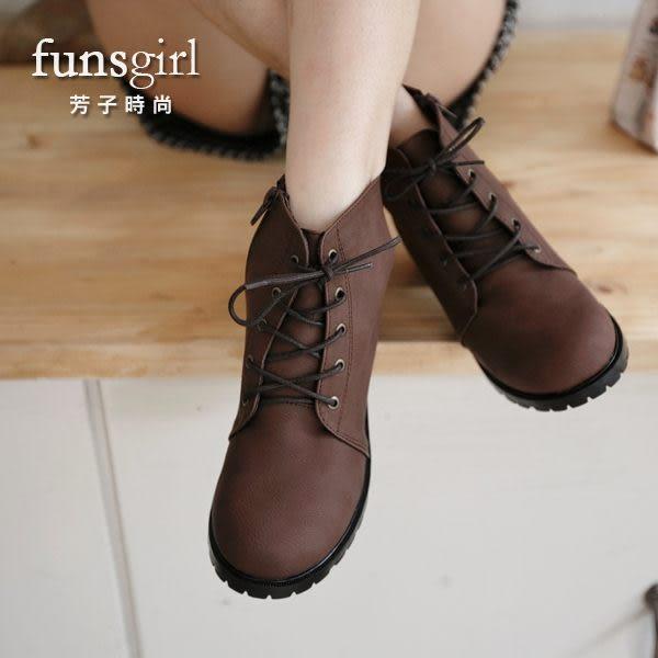 經典不敗款式復古風個性百搭軍靴短靴-2色-funsgirl芳子時尚