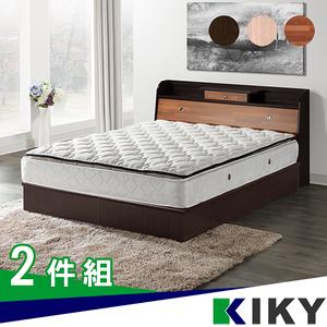 【KIKY】武藏抽屜加高 雙人5尺二件床組(床頭箱+六分床底)白橡