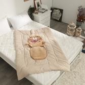 【Leafbaby】卡哇伊造型立體兩用抱枕被-多款任選棕熊俏皮