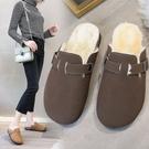 加絨半拖鞋 秋冬新款韓版毛毛拖鞋加絨半拖加絨博肯包頭軟木外穿拖鞋女  蘑菇街小屋