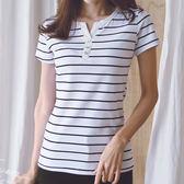 現貨-T恤-S~5XL大尺碼5色開衫小V領條紋棉短袖上衣Kiwi Shop奇異果0315【SZZ8713】