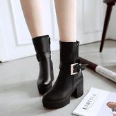 2018秋冬季新款厚底高跟中靴騎士短靴女靴子女鞋中筒靴粗跟防水臺 美芭