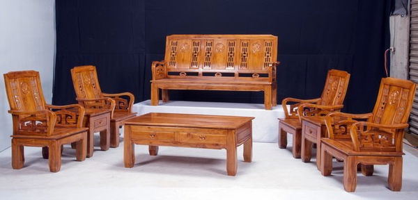 【新精品】KL-01 柚木八件式牡丹花組椅 需搭配車趟費