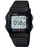 CASIO卡西歐W-800H-1A電子錶 方型 鬧鈴 碼錶 兩地時間 黑色橡膠 44mm 男錶W-800H-1AVDF
