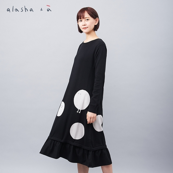 a la sha +a 大圓點點拼接針織洋裝