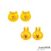 J'code真愛密碼 LINE甜心熊大+甜心兔兔黃金耳環