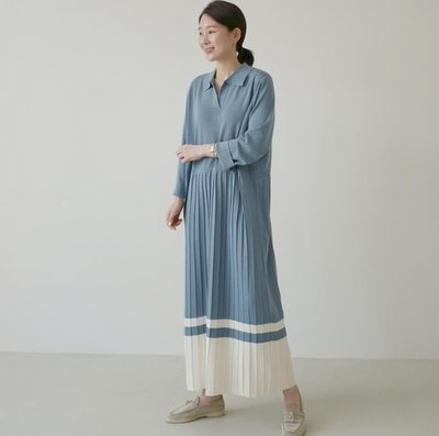 洋裝 長版裙 長袖 韓版百褶拼接設計長款寬鬆針織長袖連身裙N705-2108.胖胖唯依二店