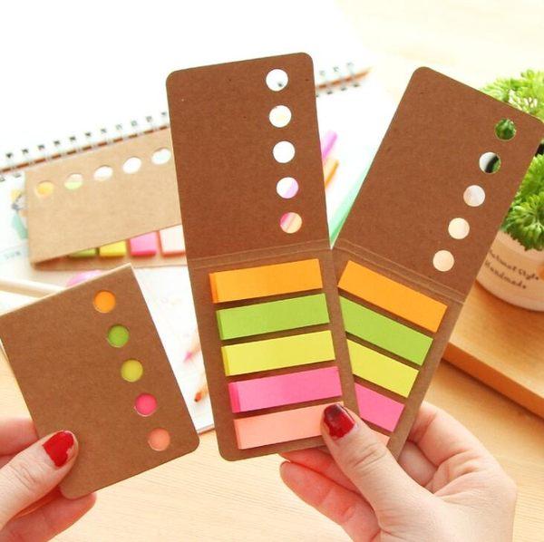 【筆紙膠帶】韓國 時尚 簡約 牛皮 記事貼 糖果色 便利貼 N次貼 便簽本 留言條