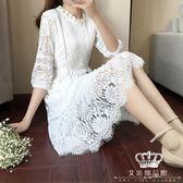 蕾絲洋裝 長裙七分袖白色蕾絲連身裙 艾米潮品館