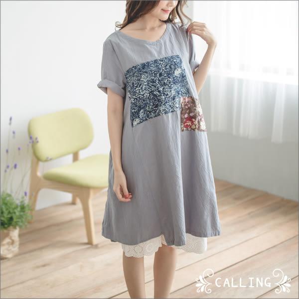 洋裝 - 文藝風碎花方塊拼接棉麻單穿質感服 三色 Calling1230