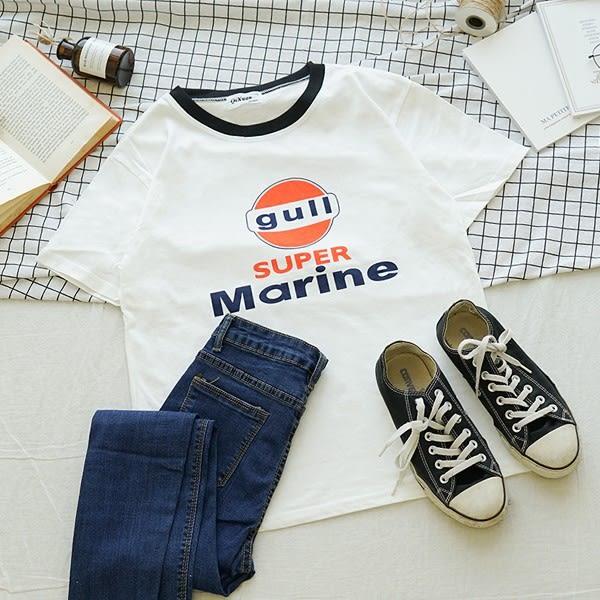 洋芋妹-1963滾邊領口GULL圖案短袖上衣【SB11990】