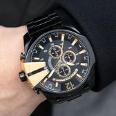 DIESEL 三眼黑金經典大錶盤設計腕錶 DZ4338 熱賣中!