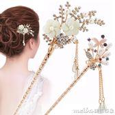 蓓麗雅韓版百搭古典簪子花朵髮夾新娘髮簪步搖流蘇盤髮器髮繩飾女 美芭