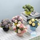 假花擺飾 人造花擺飾品辦公室朔料花假花裝飾擺設小盆栽房間花草會議室家居 多色