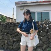 藍色小方領短款POLO衫女小清新短袖T恤