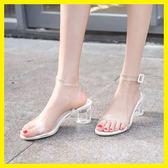 涼鞋女2019夏季新款粗跟一字扣帶透明水晶中跟CHIC度假仙女小CK鞋