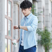 牛仔長袖襯衫男士2018新款正韓修身休閒短袖襯衣帥氣薄款外套潮流