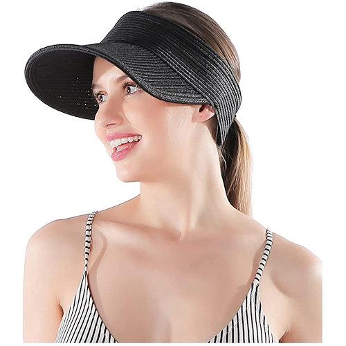 女防曬防紫外線可折疊遮陽草帽(黑色)