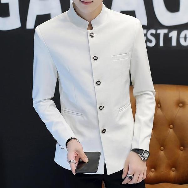休閒單西服男士韓版修身小西裝青年帥氣中山裝中華立領外套裝潮流 黛尼時尚精品