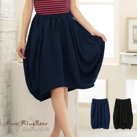 加大尺碼--花兒般的美麗-花苞式造型前短後長棉質五分裙(黑.藍S-XL)-Q52眼圈熊中大尺碼★