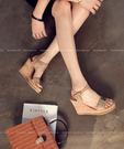 【2wenty6ix】正韓 ★ Metallic Barbie 個性時尚風采 金屬飾片 扣帶 軟木楔型 厚底涼鞋
