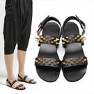 找到自己 MD 日系 時尚 潮 男 鉚釘 鐵片 鏈子 羅馬款 真皮涼鞋 平底涼鞋 沙灘鞋