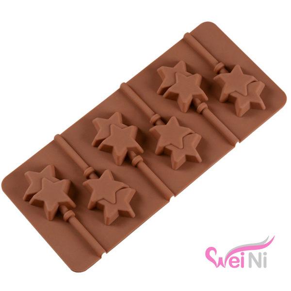 wei-ni 矽膠模 五角星星造型6連蛋糕模 矽膠模具 巧克力模型 棒棒糖 冰塊模型 製冰盒 餅乾模具