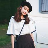 海軍風短袖T恤女學生正韓新款夏裝女裝寬鬆上衣小清新可愛夏
